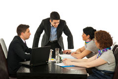 Manager discuss with employees Stock Photo
