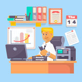 Manager or employee working a laptop in a office workplace  illustration. Manager or employee working a laptop in a office workplace Flat  illustration Stock Photography