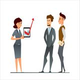 Manager and employees discuss in the office. Business cartoon characters as a team in the corporate environment. Young woman and m royalty free illustration