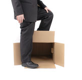 Manager and empty box. Man and empty box isolated on the white background Stock Images