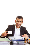 Manager with empty business card Stock Images