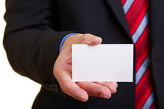 Manager with empty business card Royalty Free Stock Images