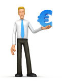 Manager with euro. Illustration of an abstract character on a white background for use in presentations, etc Stock Photo