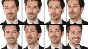 Manager: facial expressions. Various facial expressions Businessman collage stock video footage