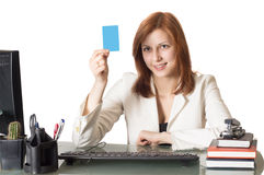 Manager female holding a credit card Royalty Free Stock Image