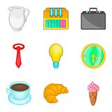 Manager free time icon set, cartoon style Stock Image