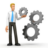 Manager with gears Royalty Free Stock Images