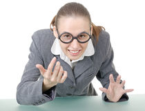 Manager girl is engaged clowning. In sham spectacles royalty free stock images