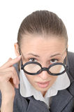Manager girl is engaged clowning. In sham spectacles stock photo
