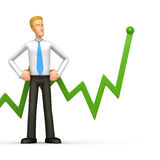 Manager with green diagram Royalty Free Stock Image
