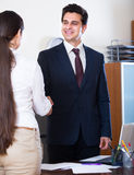 Manager greeting new employee Royalty Free Stock Images