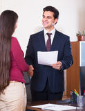Manager greeting new employee Stock Photos
