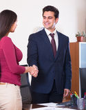 Manager greeting  new employee Royalty Free Stock Photos