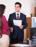 Manager greeting new employee Royalty Free Stock Photo