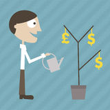 Manager grows a money plant Royalty Free Stock Photos