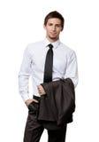 Manager hält seine Jacke Stockfoto
