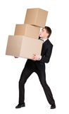Manager handing pile of boxes Royalty Free Stock Photo