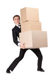 Manager handing pile of cardboard boxes Stock Photos
