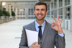 Manager happy with splendid results Stock Photos