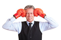 Manager with headache Royalty Free Stock Photo