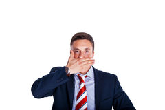 Manager with his mouth closed Royalty Free Stock Photo