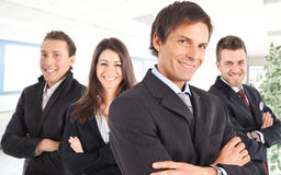 Manager and his team. Smiling Royalty Free Stock Photo