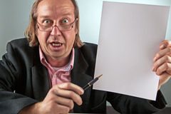 Manager hold a blank paper Stock Photo