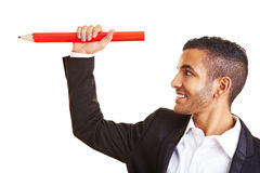 Manager holding big red pencil Royalty Free Stock Images
