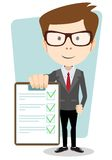 Manager holding the document approved, vector Stock Photos