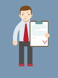 Manager holding the document approved, vector Royalty Free Stock Images
