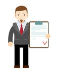 Manager holding the document approved, vector Stock Photography