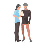 Manager Holding and Looking at Document with Woman. On white. Female standing near male and watching on paper. Discussion of documents. Vector illustration art royalty free illustration