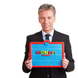 Manager holding magnetic table Royalty Free Stock Images