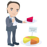 Manager holding piece of the chart like a pie Royalty Free Stock Images