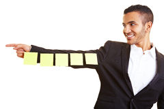 Manager holding sticky notes Stock Photography