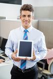 Manager Holding Tablet Computer At Call Center Stock Image