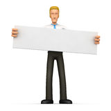 Manager holds up a poster Stock Image