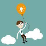 Manager with idea. Flat illustration of a manager and balloon which represents an idea Royalty Free Stock Photo