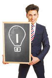 Manager with idea and innovation concept. Drawn with chalk on a blackboard Royalty Free Stock Photos