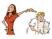 Manager and intern. Cartoon illustration of a female manager and intern Stock Images