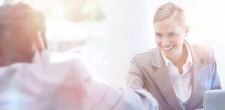 Manager interviewing a male applicant Stock Images