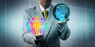 Manager Introducing AI To Multicultural Team. Unrecognizable business manager introducing artificial intelligence to a multicultural white collar work team stock image