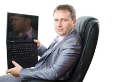 Manager keep laptop in his hands Royalty Free Stock Photography