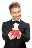 Manager keeping present box Royalty Free Stock Image