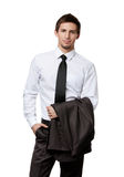 Manager keeps his jacket. On one hand and another hand puts into the pocket, isolated on white Stock Photo