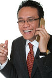 Manager laughs while phoning Royalty Free Stock Photography