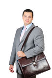 Manager and leather briefcase Stock Photos