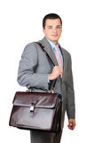 Manager and leather briefcase Royalty Free Stock Images