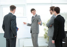 Manager makes the presentation of a new project for employees Royalty Free Stock Photography