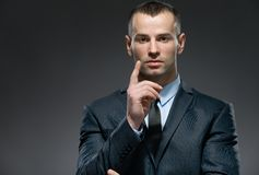 Manager making attention gesture Stock Photos